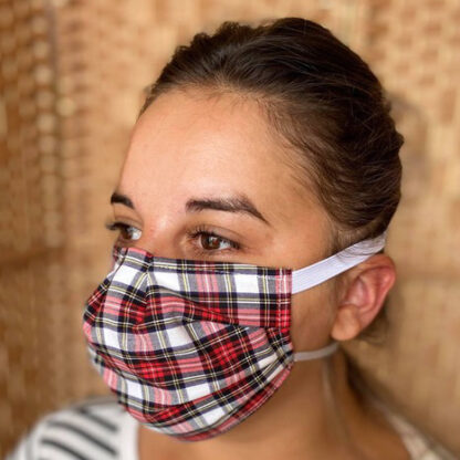 Red & White Tartan Face Mask