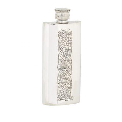 3oz Slim Celtic Pewter Flask