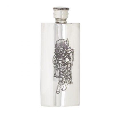 3oz Slim Piper Pewter Flask