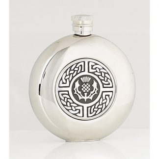 4oz Celtic & Thistle Round Stainless Steel Flask