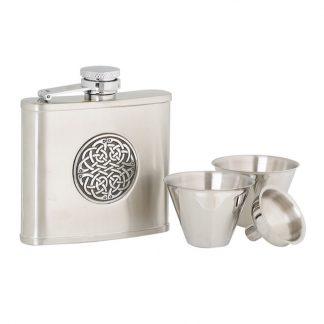 4oz Celtic Weave Stainless Steel Flask Set