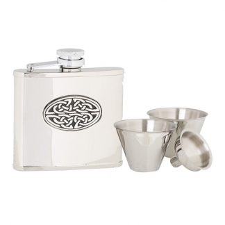 4oz Oval Celtic Stainless Steel Flask Set