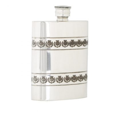 4oz Thistle Band Pewter Flask