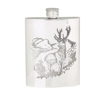 6oz Stag Pewter Flask