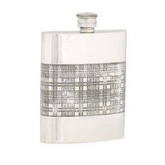 6oz Tartan Band Pewter Flask