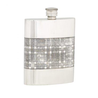 6oz Tartan Band Pewter Flask