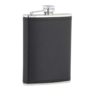 Black Leather Stainless Steel Flask