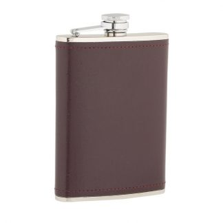 Burgundy Leather Stainless Steel Flask
