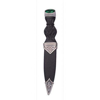 Celtic Matt Sgian Dubh With Emerald Stone Top