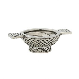 Celtic Mini Pewter Quaich 1.25""