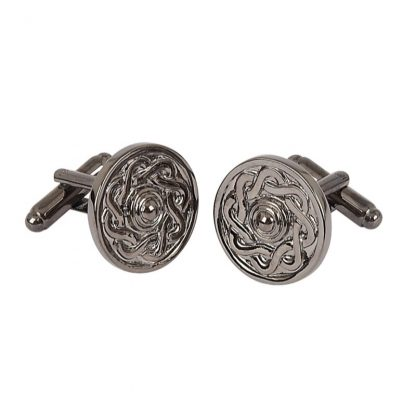 Celtic Shield Black Chrome Cufflinks