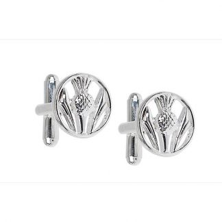 Pierced Thistle Silver Plated Cufflinks