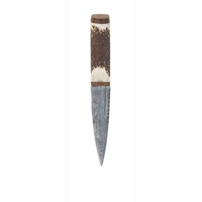 Staghorn Damascus Sgian Dubh With Walnut