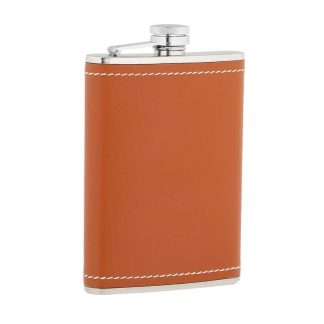 Tan Leather Stainless Steel Flask