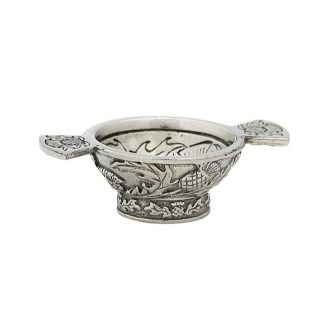 Thistle Mini Pewter Quaich 1.25""