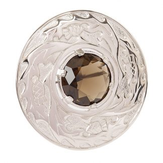 Thistle Plaid Brooch With Stone